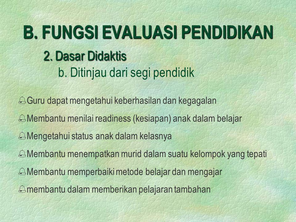 B. FUNGSI EVALUASI PENDIDIKAN 2. Dasar Didaktis. b