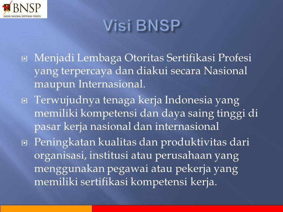 Visi BNSP Menjadi Lembaga Otoritas Sertifikasi Profesi yang terpercaya dan diakui secara Nasional maupun Internasional.