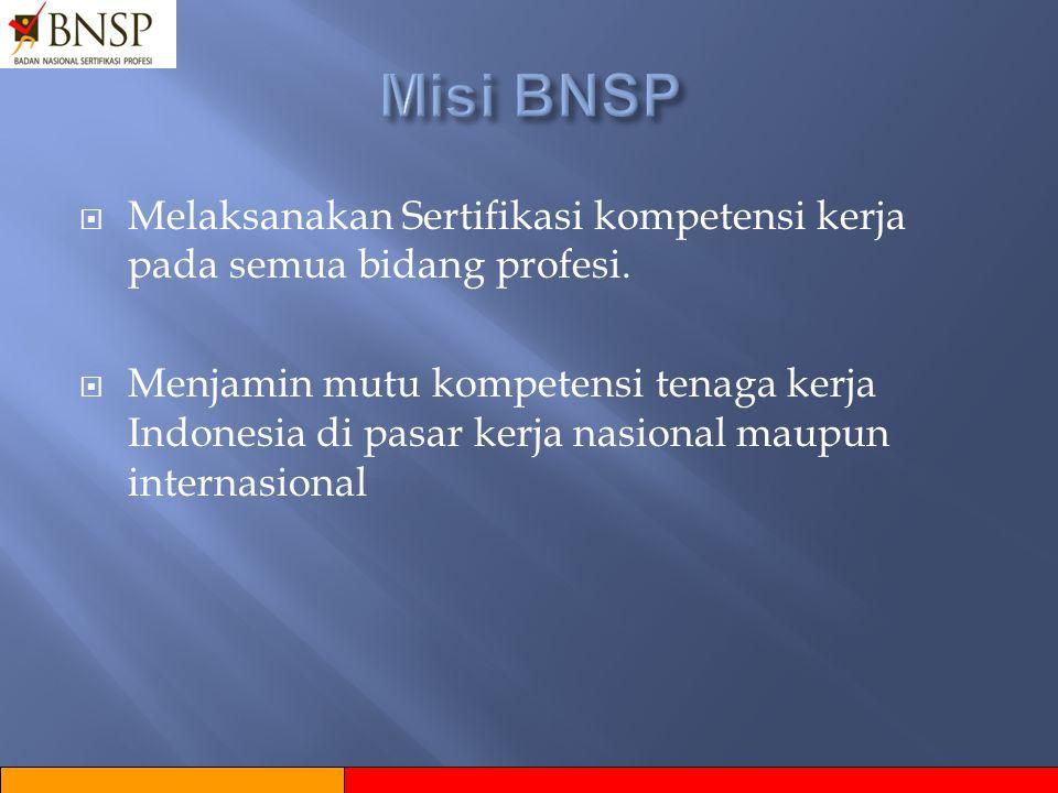 Misi BNSP Melaksanakan Sertifikasi kompetensi kerja pada semua bidang profesi.