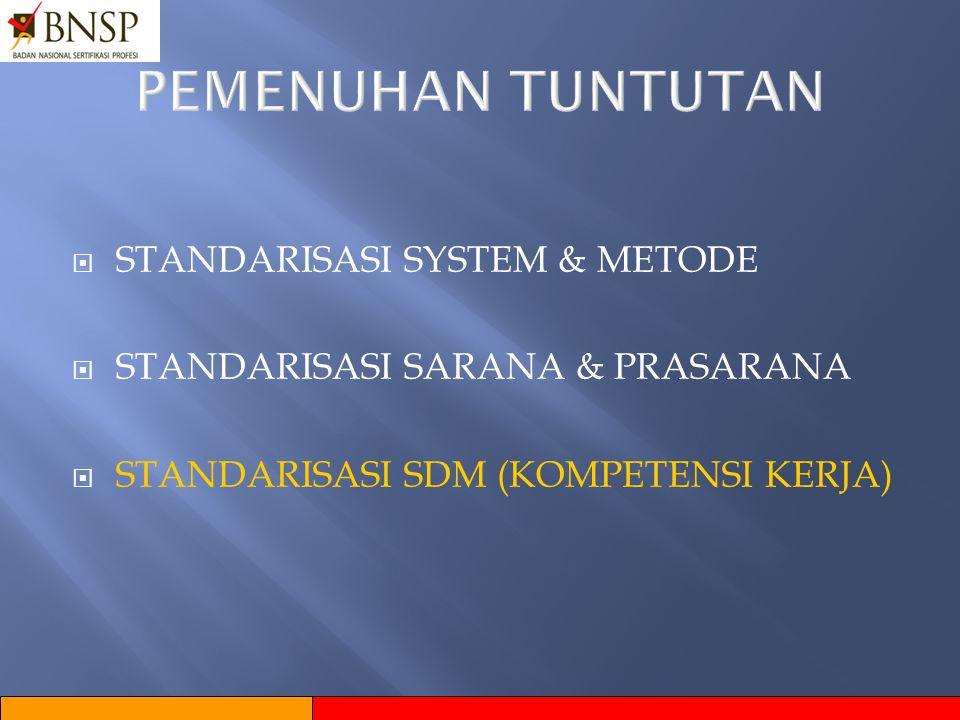 PEMENUHAN TUNTUTAN STANDARISASI SYSTEM & METODE