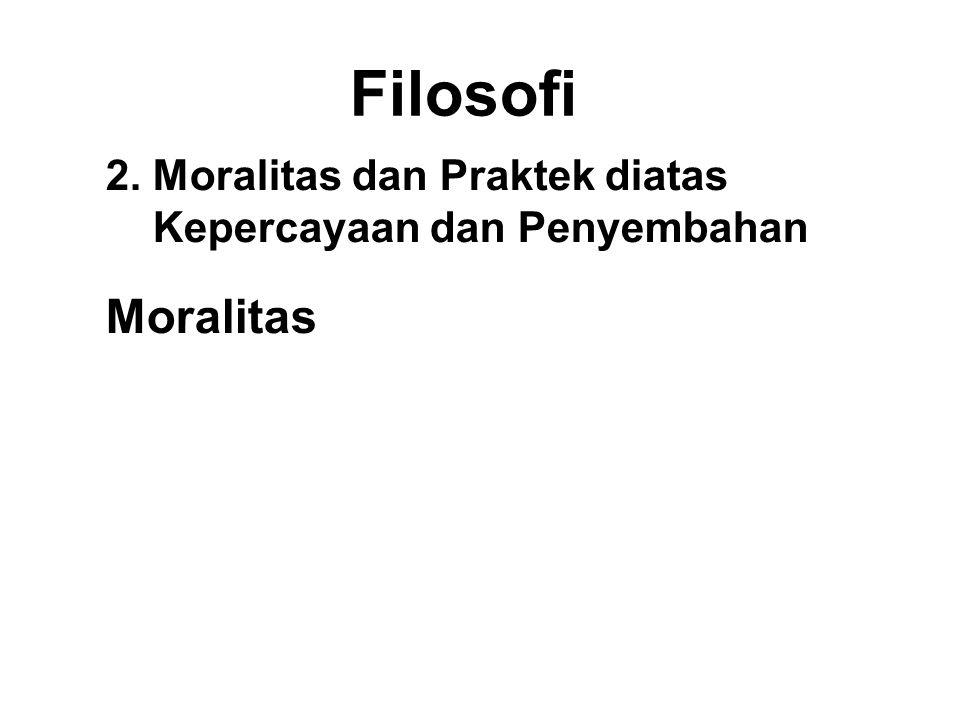 Filosofi 2. Moralitas dan Praktek diatas Kepercayaan dan Penyembahan. Moralitas. Externalized - Responsibility is outside.