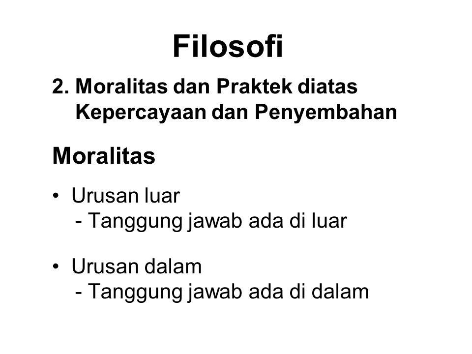 Filosofi 2. Moralitas dan Praktek diatas Kepercayaan dan Penyembahan. Moralitas. Urusan luar - Tanggung jawab ada di luar.
