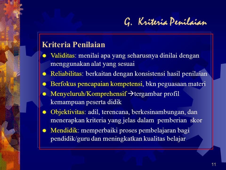 G. Kriteria Penilaian Kriteria Penilaian