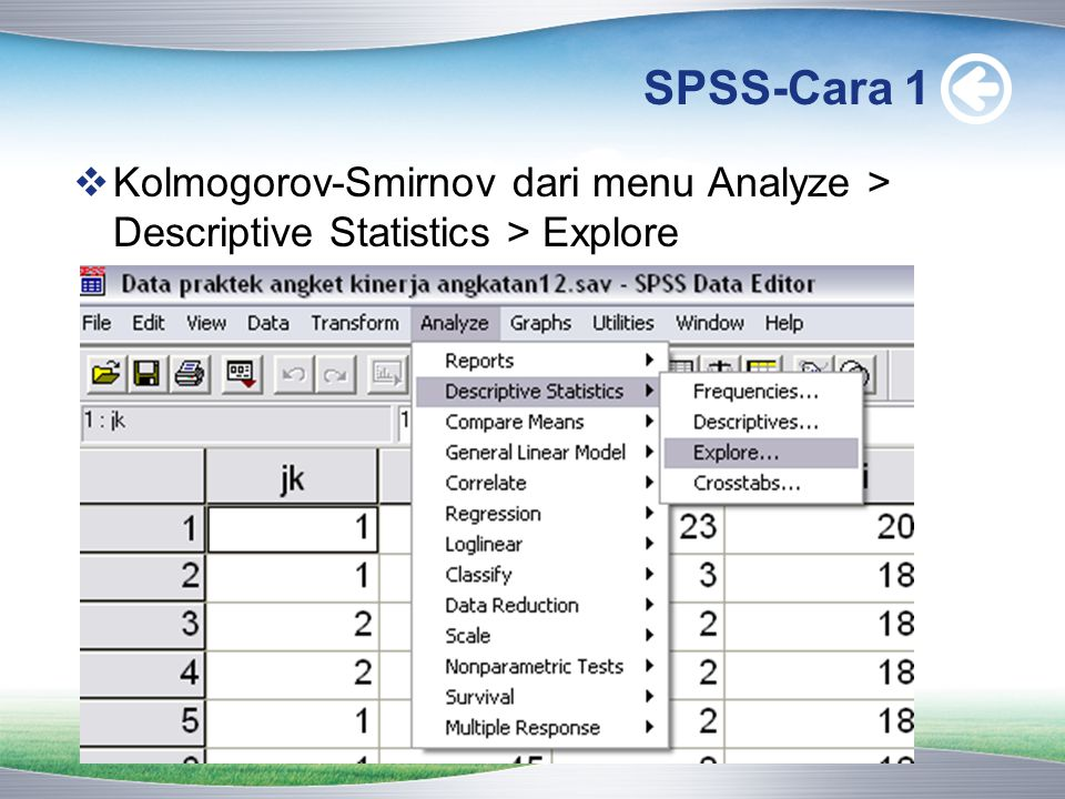 SPSS-Cara 1 Kolmogorov-Smirnov dari menu Analyze > Descriptive Statistics > Explore