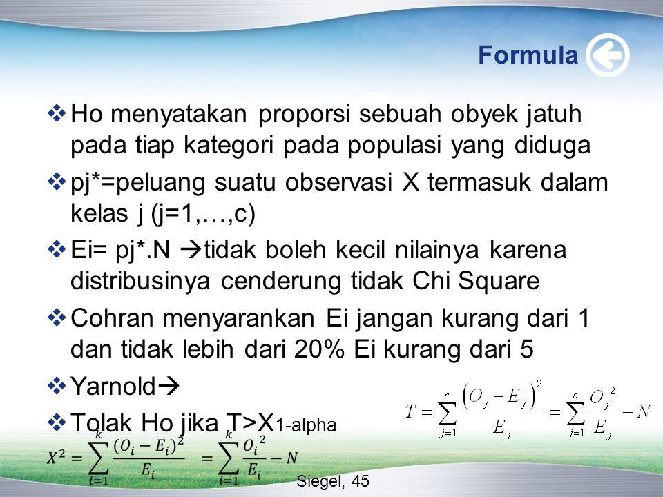 pj*=peluang suatu observasi X termasuk dalam kelas j (j=1,…,c)