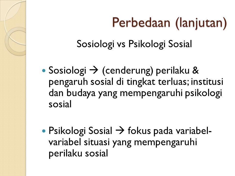 Sosiologi vs Psikologi Sosial