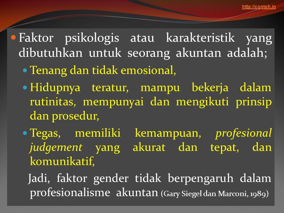 http://contoh.in Faktor psikologis atau karakteristik yang dibutuhkan untuk seorang akuntan adalah;