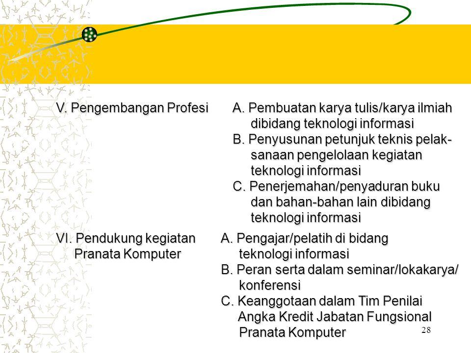 V. Pengembangan Profesi