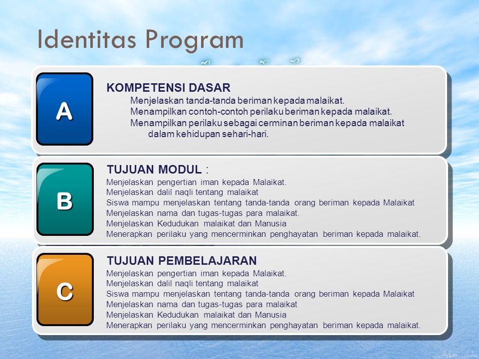 Identitas Program A B C KOMPETENSI DASAR TUJUAN MODUL :