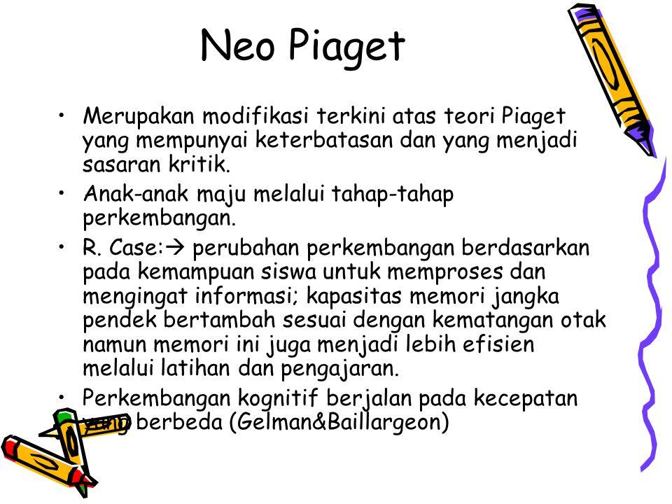Neo Piaget Merupakan modifikasi terkini atas teori Piaget yang mempunyai keterbatasan dan yang menjadi sasaran kritik.