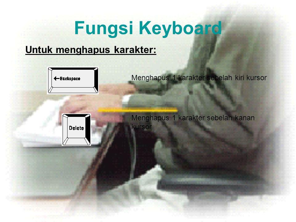 Fungsi Keyboard Untuk menghapus karakter: