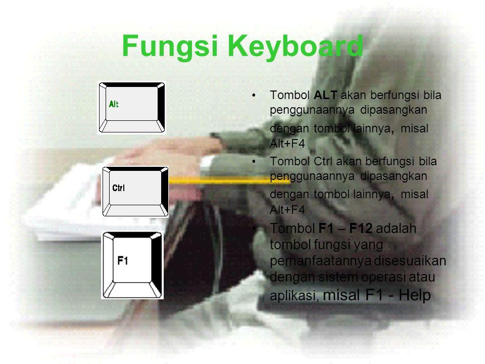 Fungsi Keyboard Tombol ALT akan berfungsi bila penggunaannya dipasangkan dengan tombol lainnya, misal Alt+F4.