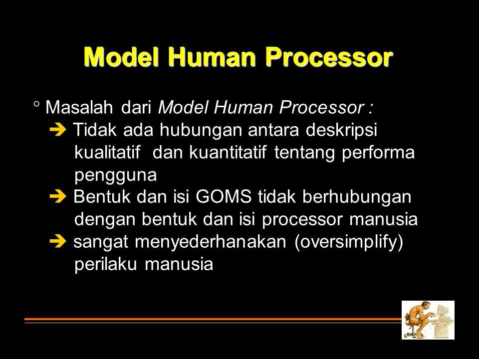 Model Human Processor Masalah dari Model Human Processor :