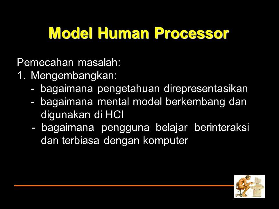 Model Human Processor Pemecahan masalah: Mengembangkan: