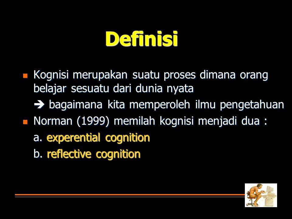 Definisi Kognisi merupakan suatu proses dimana orang belajar sesuatu dari dunia nyata.  bagaimana kita memperoleh ilmu pengetahuan.