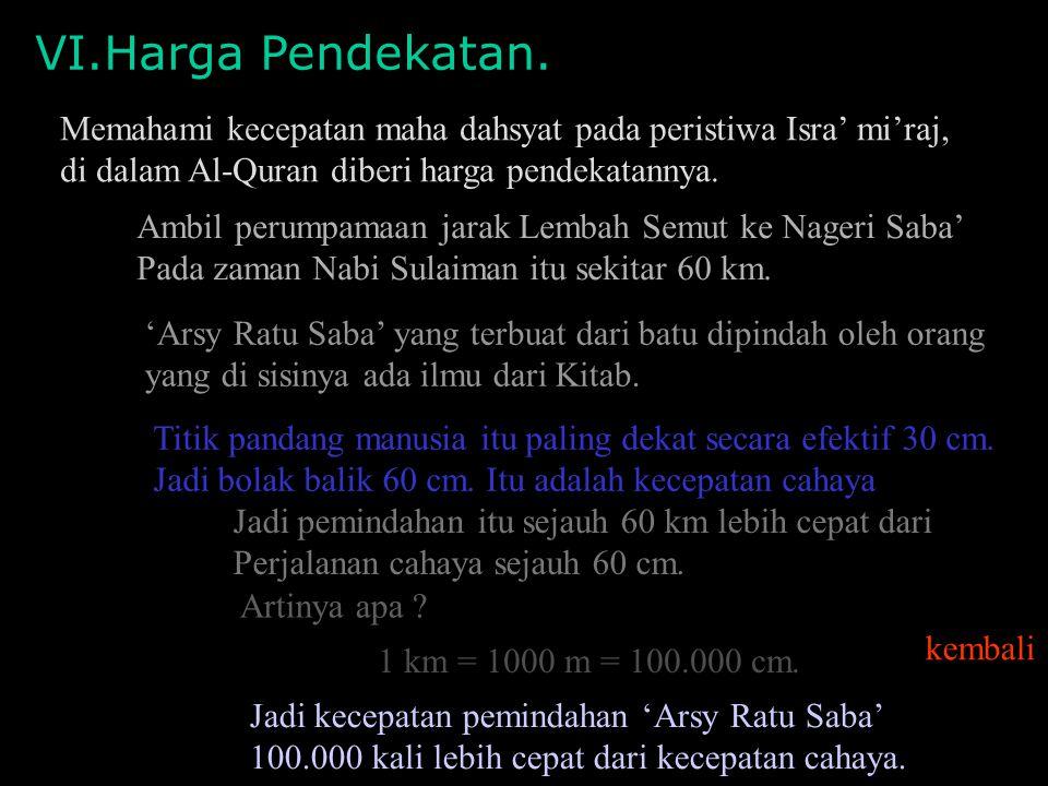 VI.Harga Pendekatan. Memahami kecepatan maha dahsyat pada peristiwa Isra' mi'raj, di dalam Al-Quran diberi harga pendekatannya.