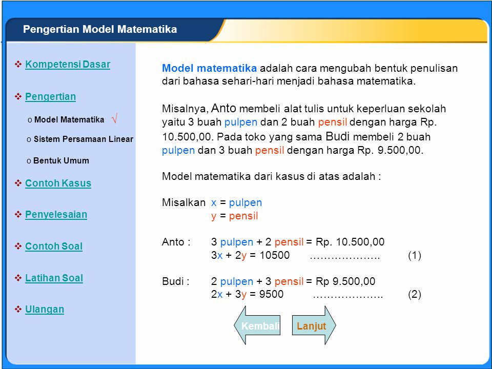 √ Pengertian Model Matematika