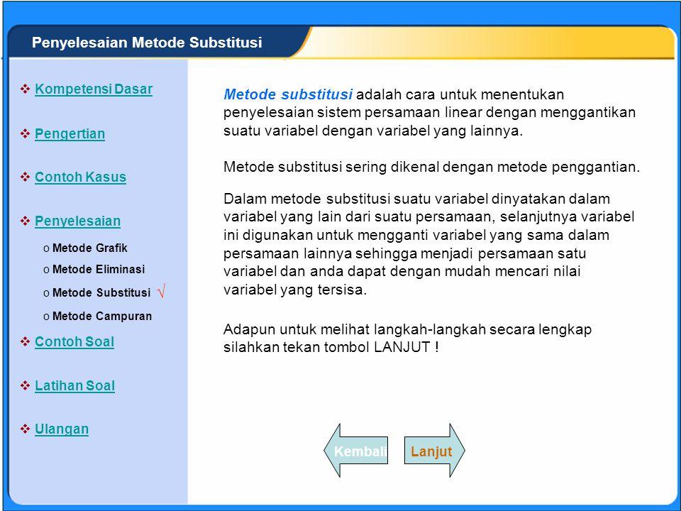√ Penyelesaian Metode Substitusi