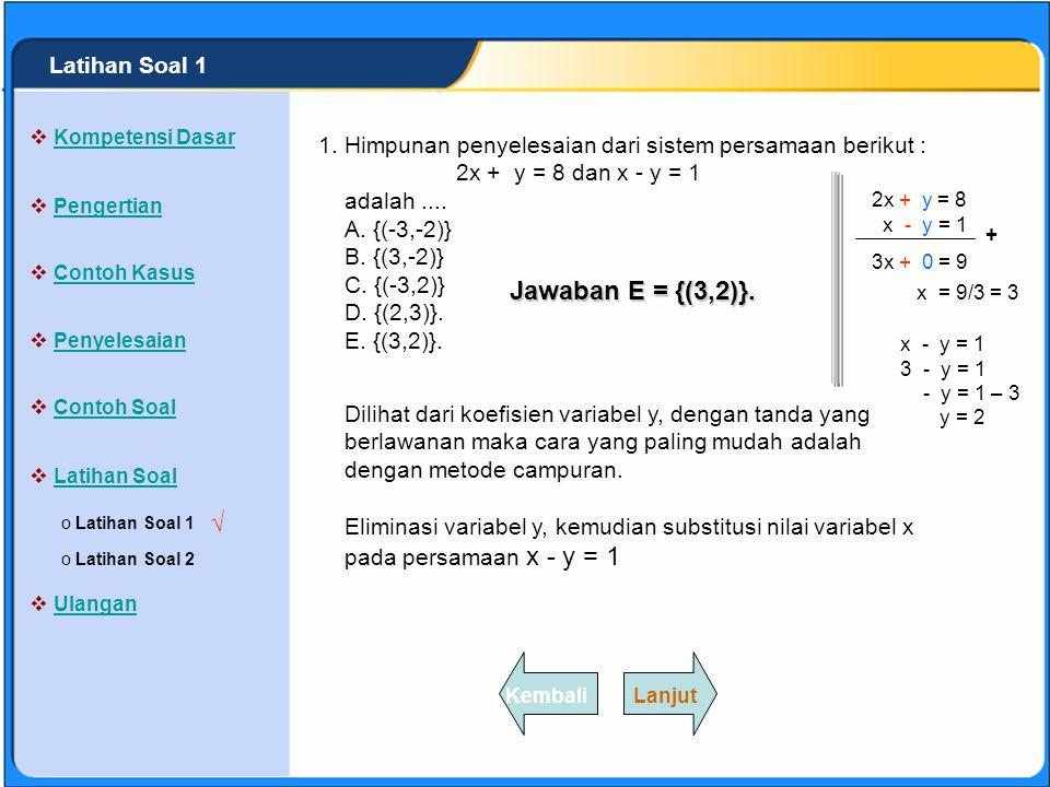 Jawaban E = {(3,2)}. √ Latihan Soal 1 1.