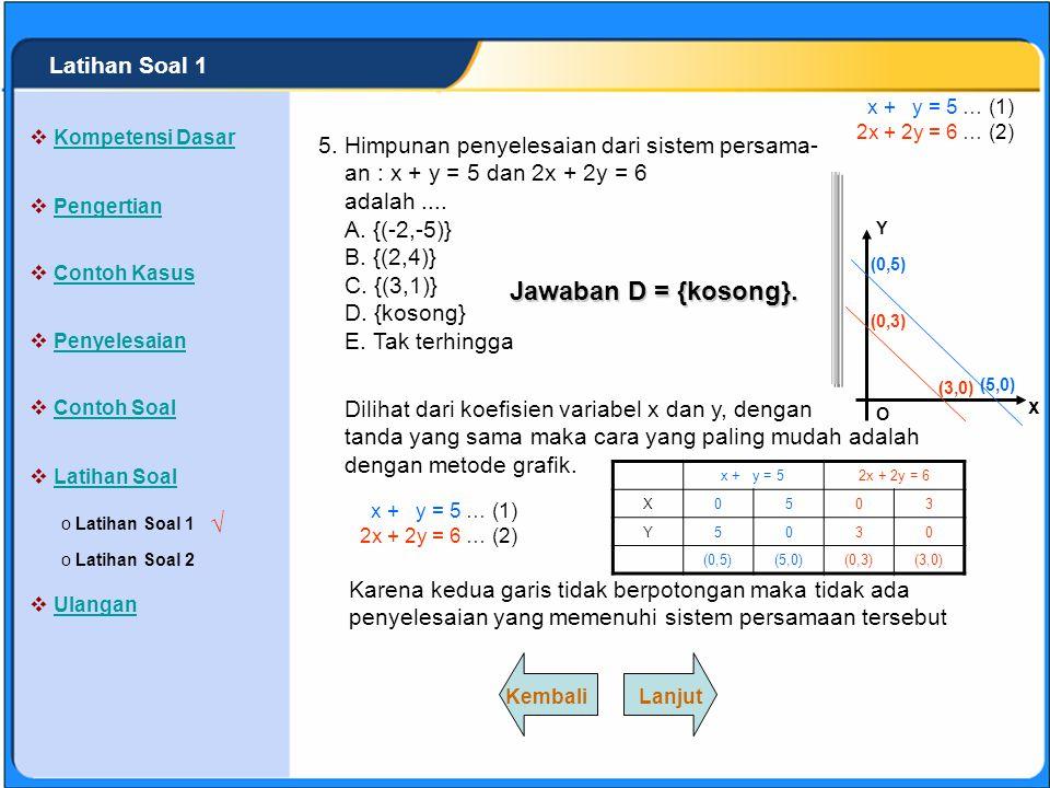Jawaban D = {kosong}. √ Latihan Soal 1 5.