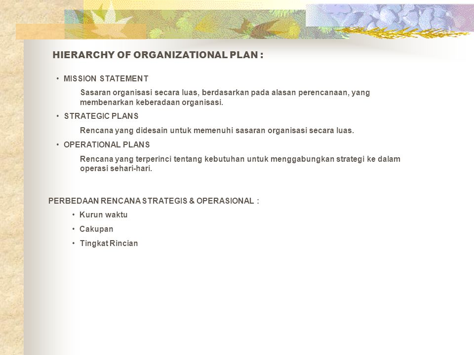 HIERARCHY OF ORGANIZATIONAL PLAN :