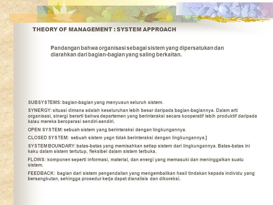 THEORY OF MANAGEMENT : SYSTEM APPROACH