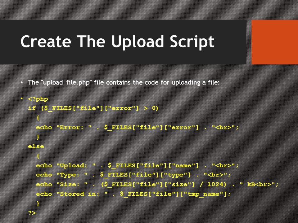 Create The Upload Script