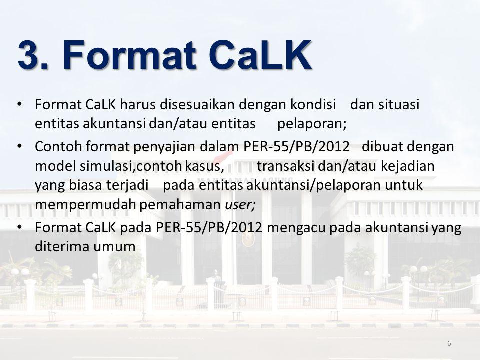 3. Format CaLK Format CaLK harus disesuaikan dengan kondisi dan situasi entitas akuntansi dan/atau entitas pelaporan;