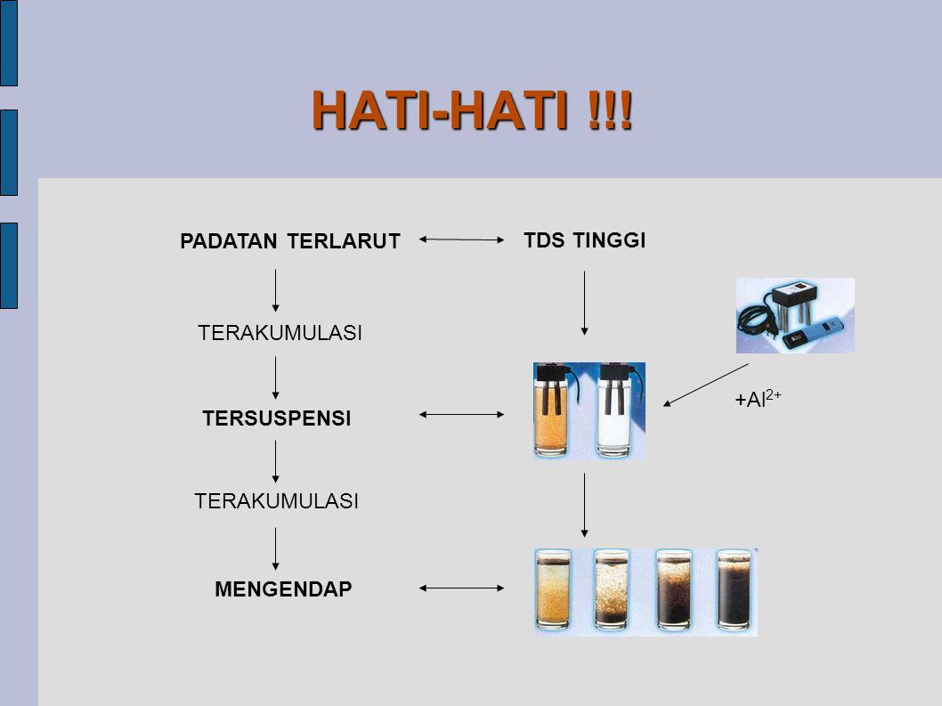 HATI-HATI !!! PADATAN TERLARUT TDS TINGGI TERAKUMULASI +Al2+