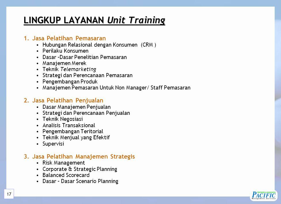 LINGKUP LAYANAN Unit Training (Lanjutan)