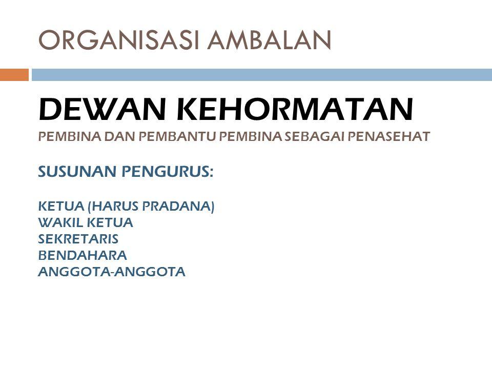 DEWAN KEHORMATAN ORGANISASI AMBALAN SUSUNAN PENGURUS: