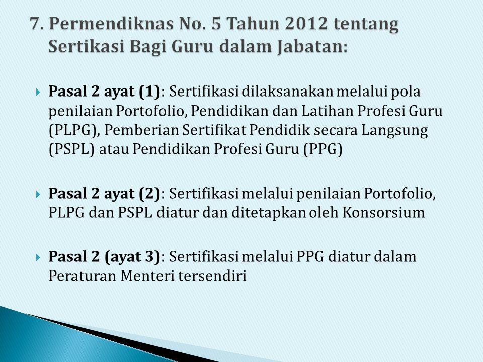 7. Permendiknas No. 5 Tahun 2012 tentang Sertikasi Bagi Guru dalam Jabatan: