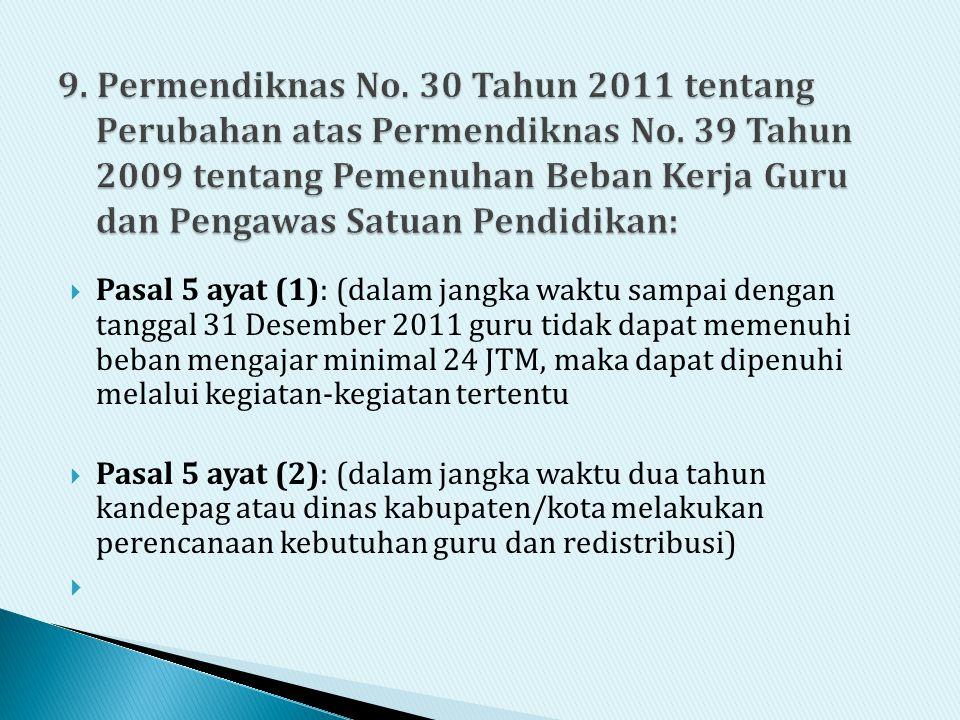9. Permendiknas No. 30 Tahun 2011 tentang Perubahan atas Permendiknas No. 39 Tahun 2009 tentang Pemenuhan Beban Kerja Guru dan Pengawas Satuan Pendidikan: