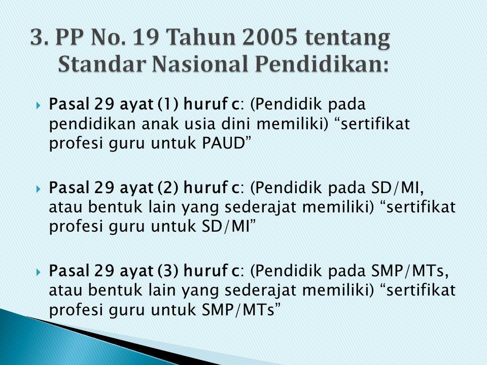 3. PP No. 19 Tahun 2005 tentang Standar Nasional Pendidikan: