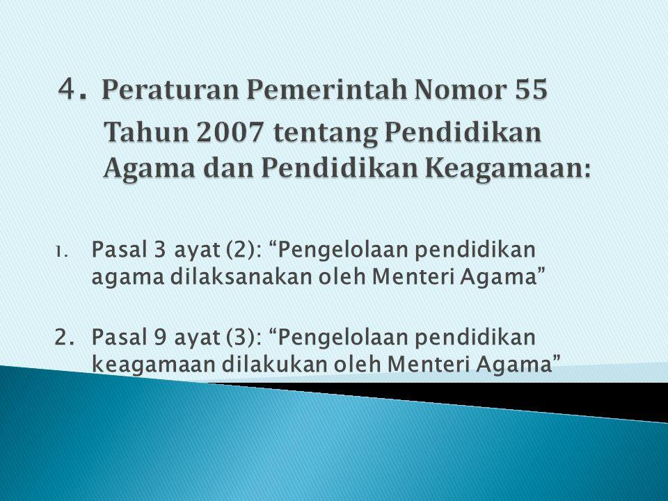 4. Peraturan Pemerintah Nomor 55 Tahun 2007 tentang Pendidikan Agama dan Pendidikan Keagamaan: