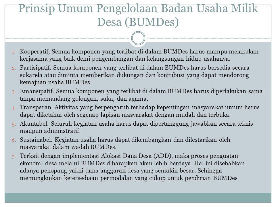 Prinsip Umum Pengelolaan Badan Usaha Milik Desa (BUMDes)
