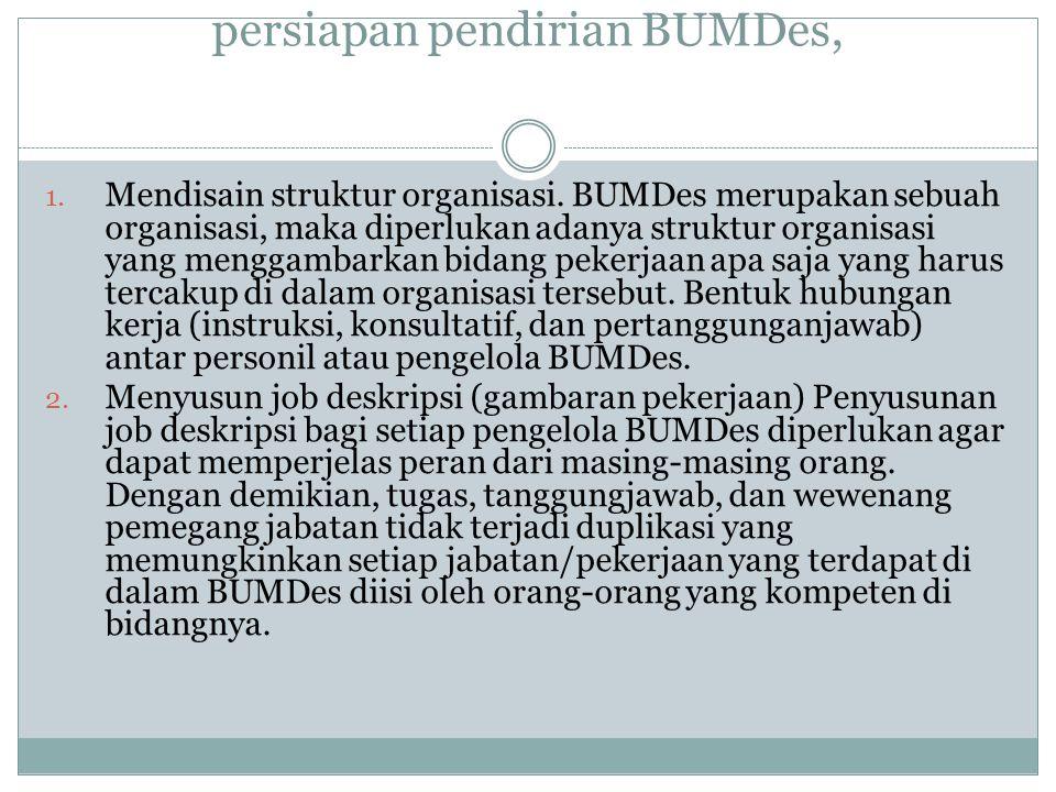 Aktivitas yang harus dilakukan dalam persiapan pendirian BUMDes,
