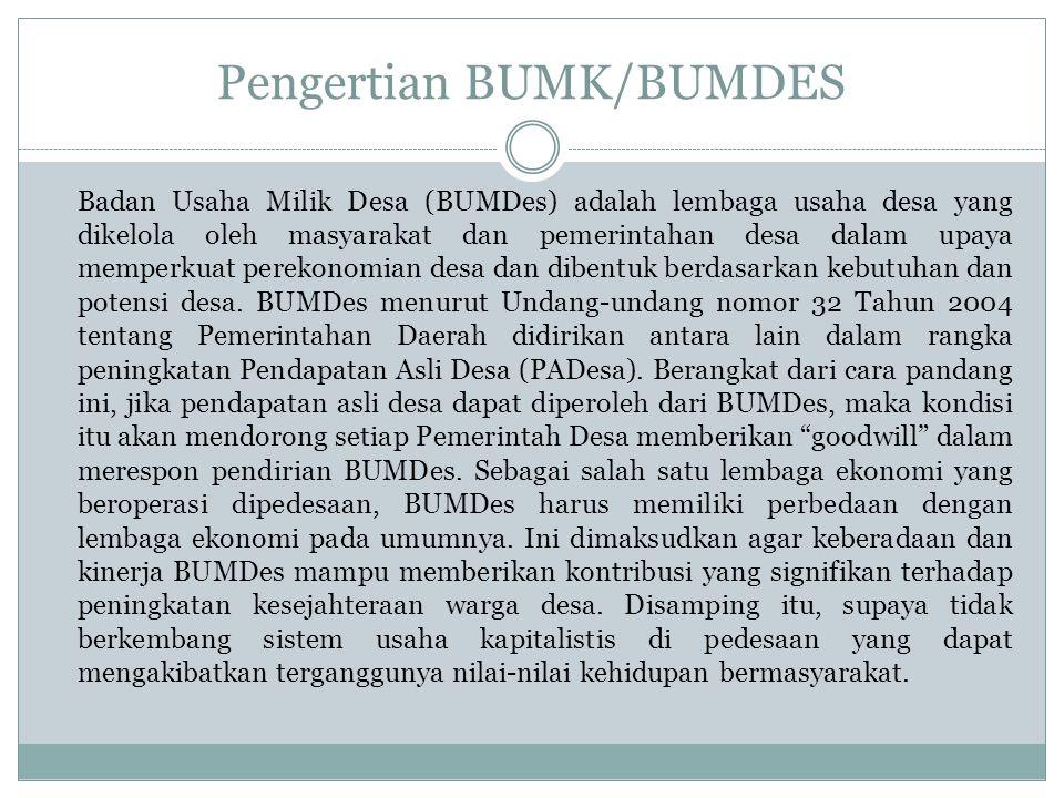 Pengertian BUMK/BUMDES