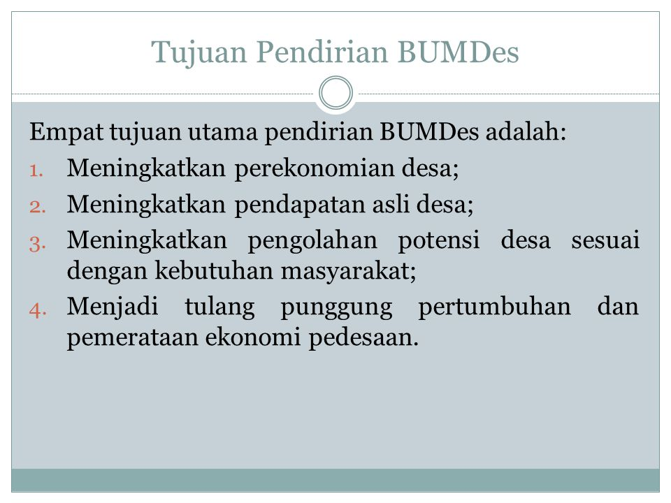 Tujuan Pendirian BUMDes