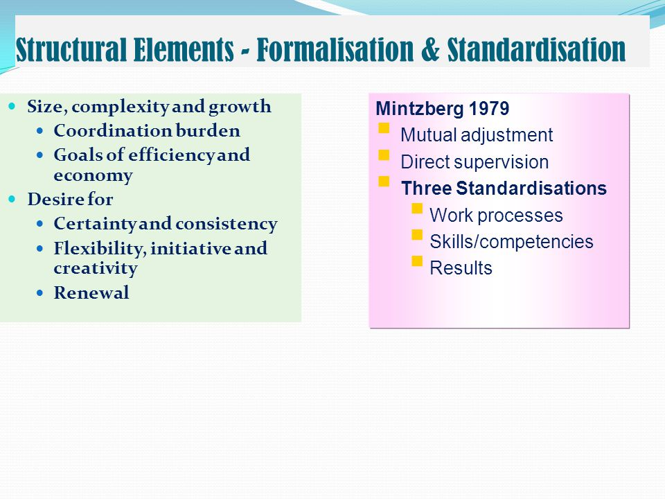 Structural Elements - Formalisation & Standardisation