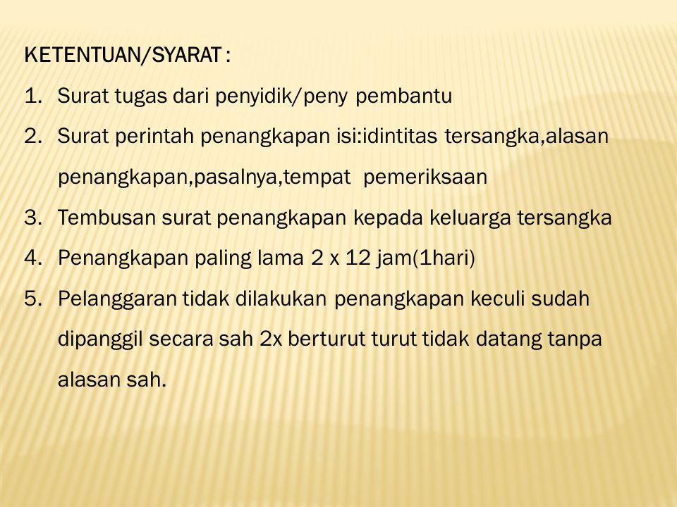 KETENTUAN/SYARAT : Surat tugas dari penyidik/peny pembantu.