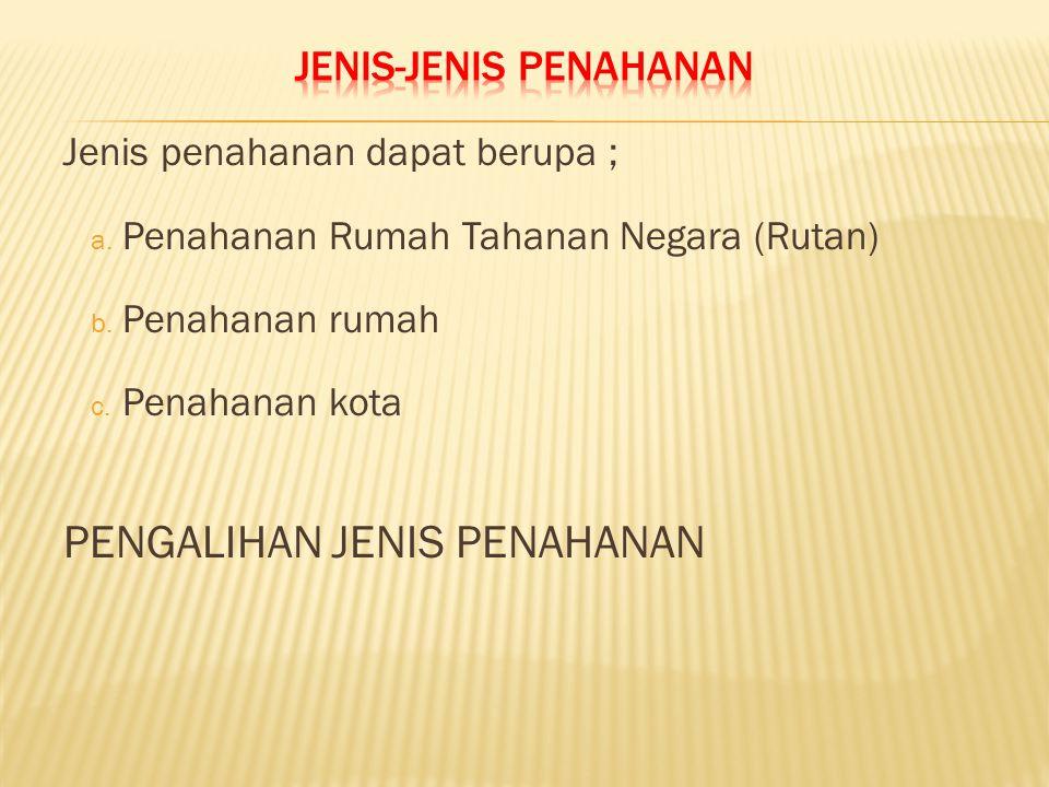 JENIS-JENIS PENAHANAN