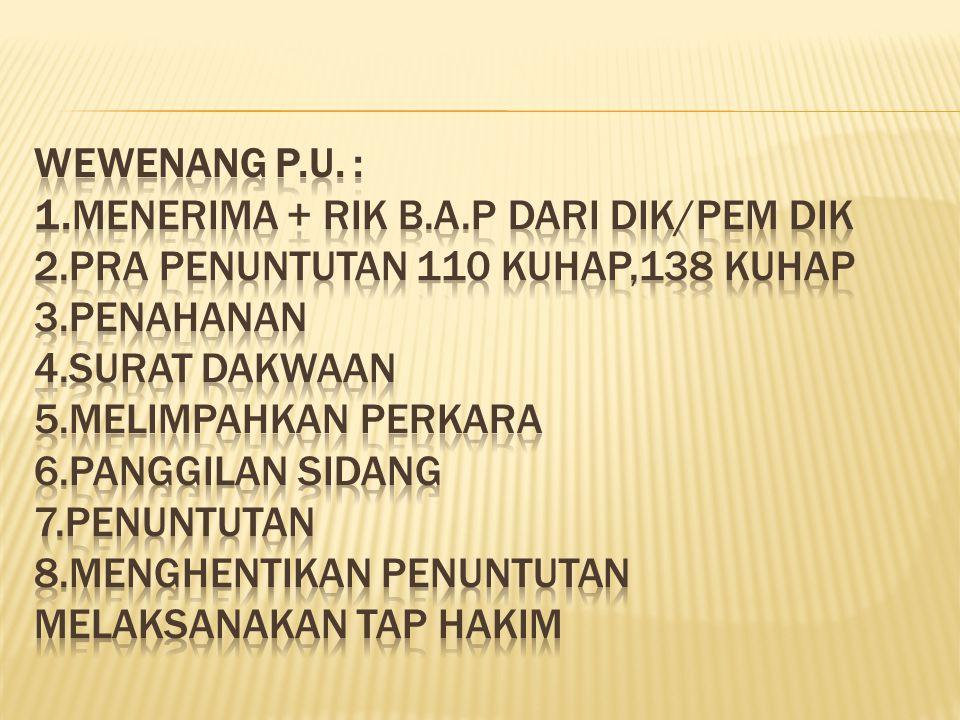 Wewenang P. U. : 1. Menerima + RIK B. A. P dari DIK/Pem DIK 2