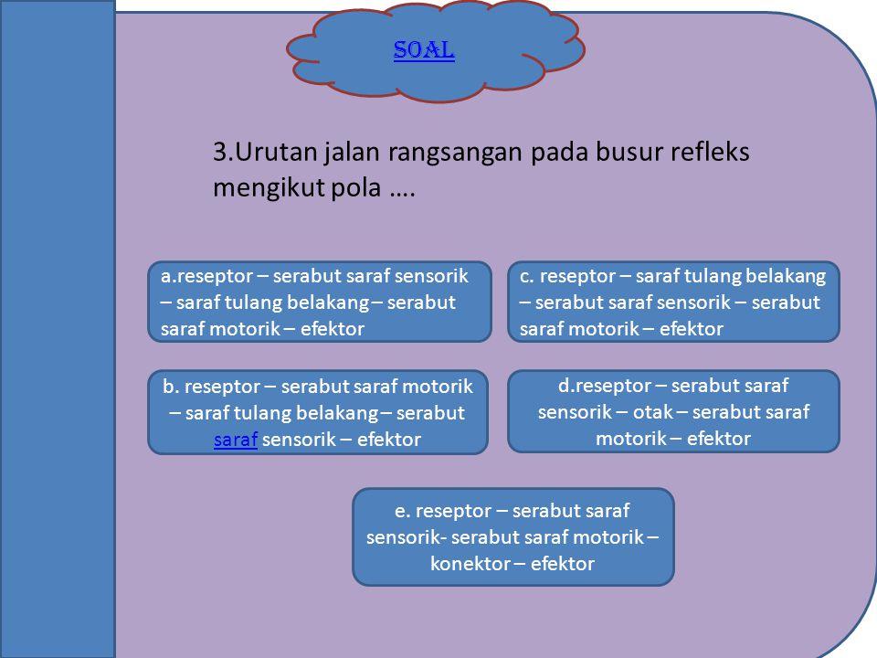 3.Urutan jalan rangsangan pada busur refleks mengikut pola ….