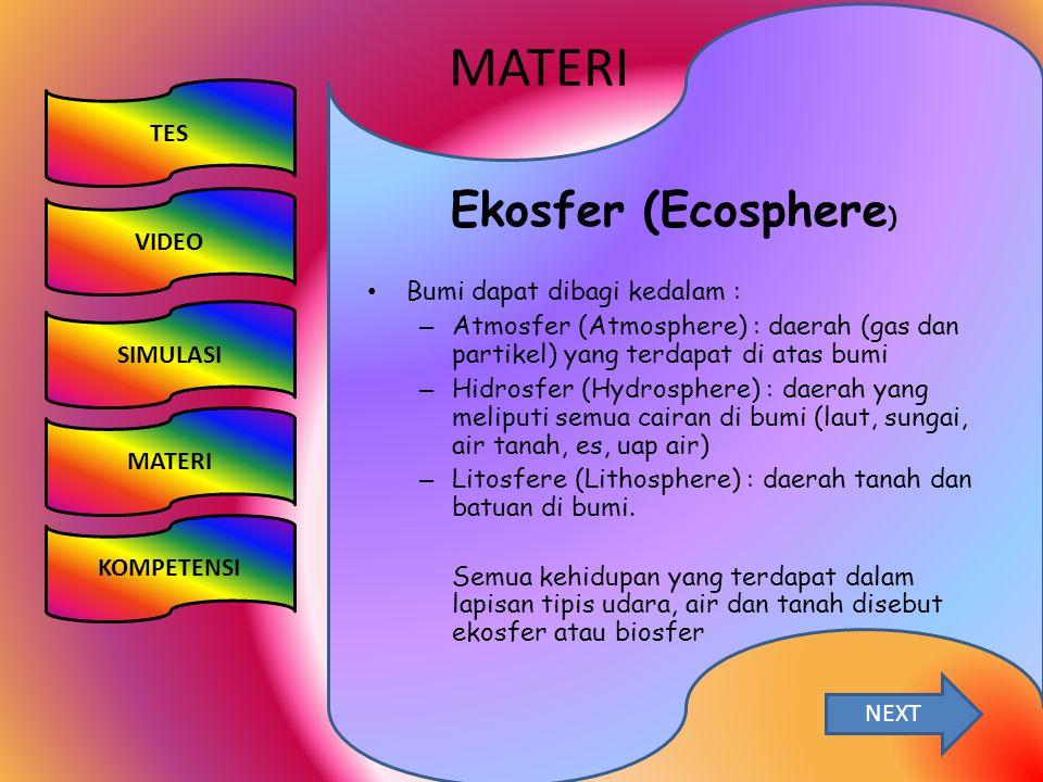 MATERI Ekosfer (Ecosphere) TES VIDEO Bumi dapat dibagi kedalam :