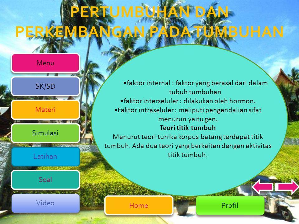 faktor internal : faktor yang berasal dari dalam tubuh tumbuhan