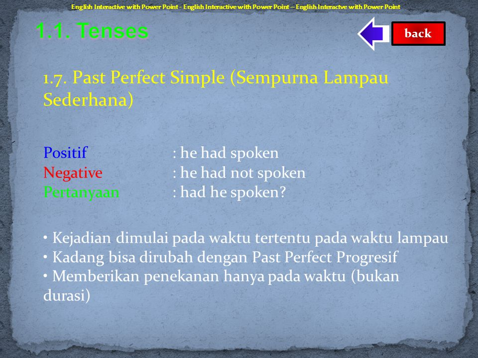 1.1. Tenses 1.7. Past Perfect Simple (Sempurna Lampau Sederhana)