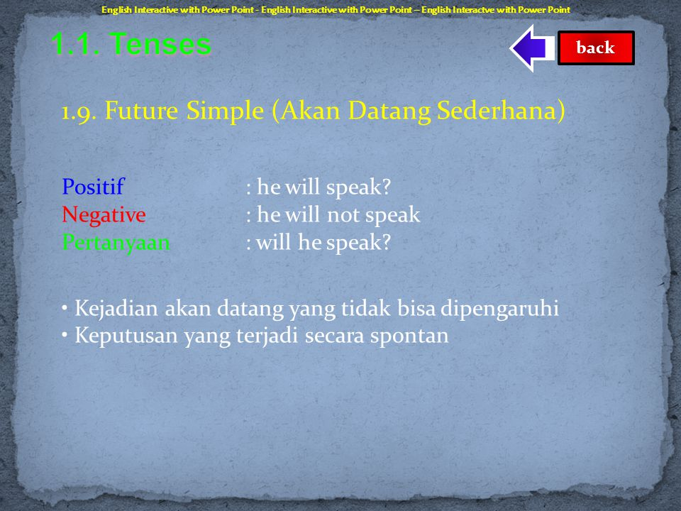 1.1. Tenses 1.9. Future Simple (Akan Datang Sederhana)
