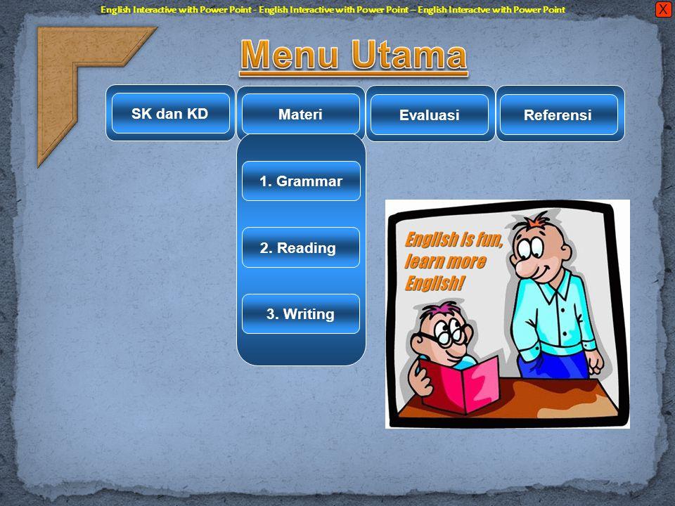 Menu Utama SK dan KD Materi Evaluasi Referensi 1. Grammar 2. Reading