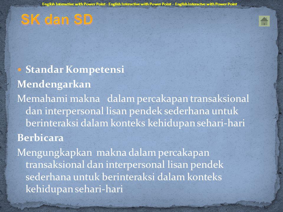 SK dan SD Standar Kompetensi Mendengarkan